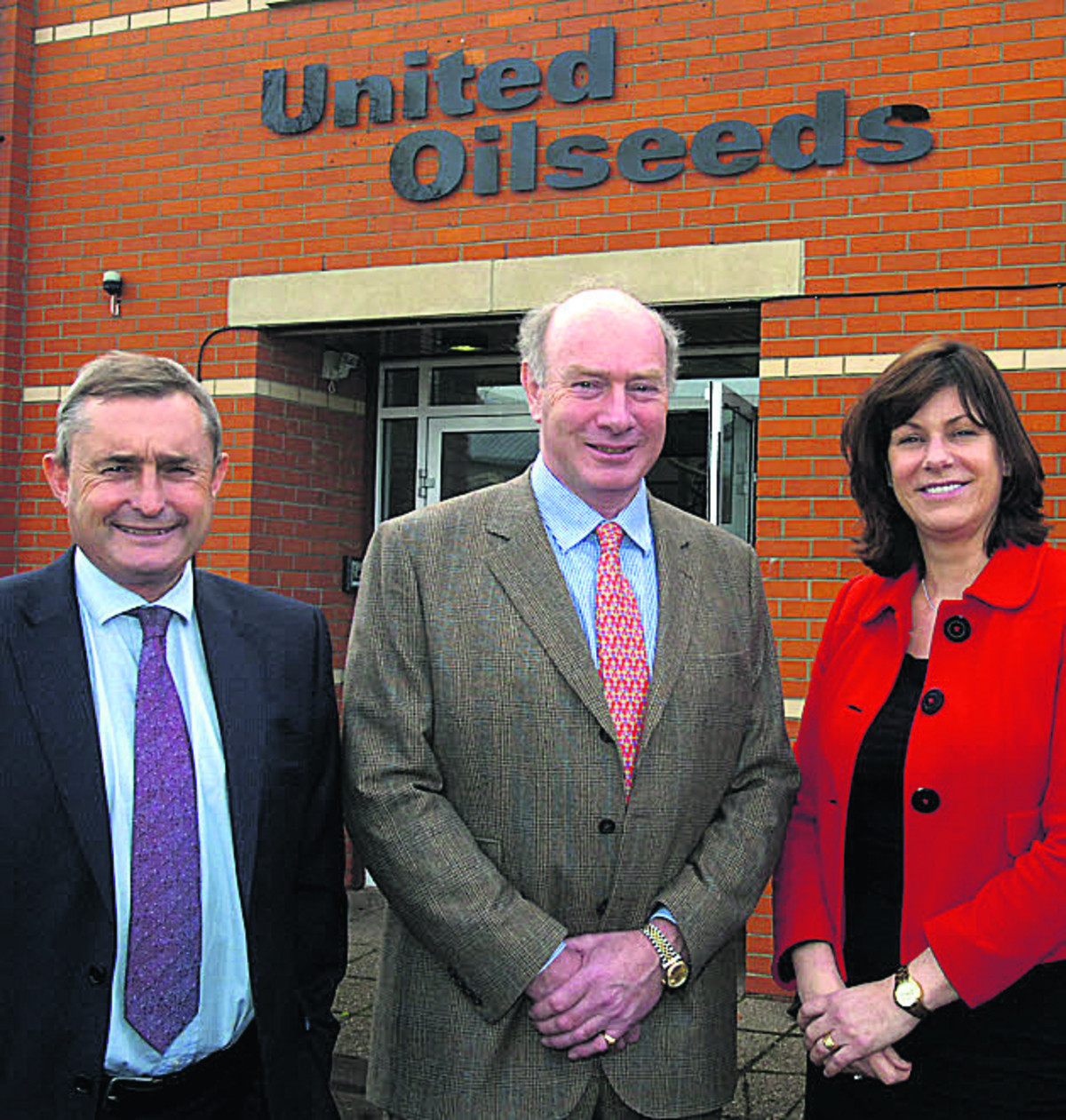 Devizes MP Claire Perry with United Oilseeds managing director Chris Baldwin and John Elliot, chairman