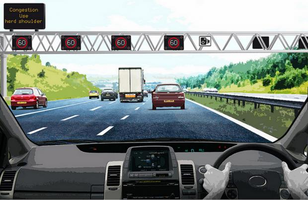 The Wiltshire Gazette and Herald: An artist's impression of the 'smart motorway' in action. Image courtesy of the Highways Agency
