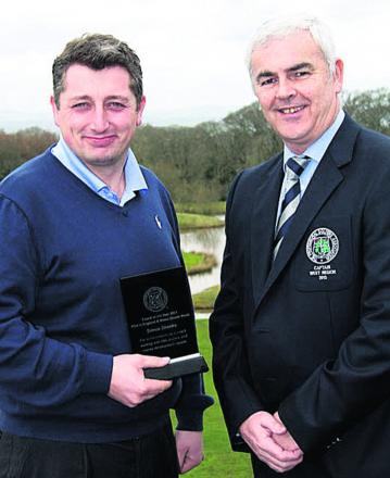 Simon Shanks, with PGA captain Peter Laugher