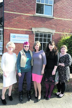 Wiltshire Blind Association services co-ordinator Maggie Hemmings, visually impaired ambassador Julia Close, marketing manager Annie Davis, central services co-ordinator Alison Forrest and chief executive Leanne Hubbard