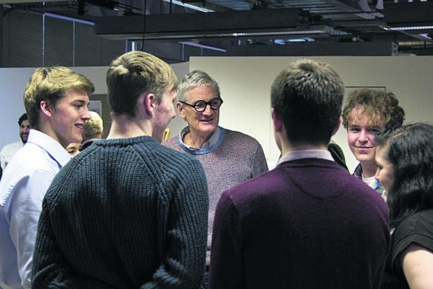 The Wiltshire Gazette and Herald: Malmesbury School students meet Sir James Dyson during an event where PhD students, supported by the James Dyson Foundation, showcase their ground-breaking technology at the Dyson headquarters