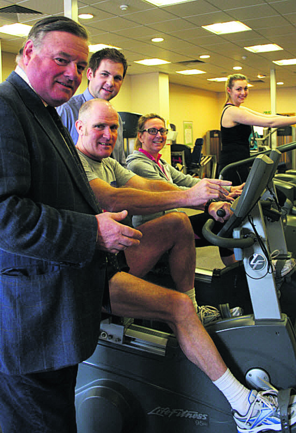 Coun Jonathon Seed, Devizes Leisure Centre manager Dan Webb and gym users Keith Moore, Anna Villette and Elyne Williams