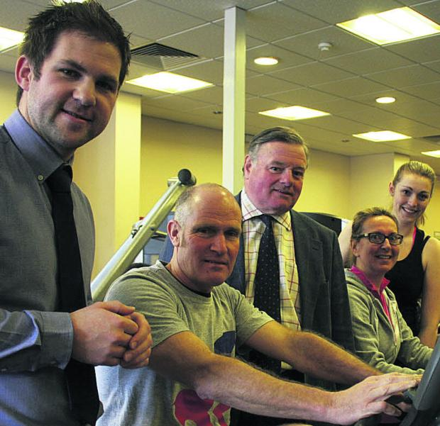 Jonathan Seed, Wiltshire Council cabinet member for leisure, centre, with Devizes Leisure Centre manager Dan Webb, left, and gym users Keith Moore, Anna Villette and Elyne Williams