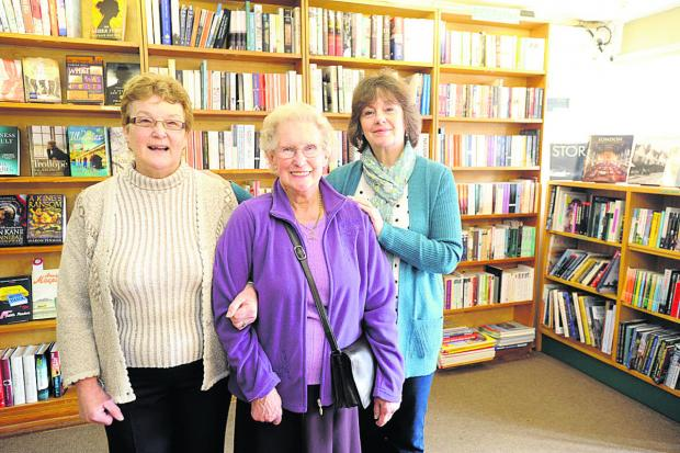 The Wiltshire Gazette and Herald: Christine Ellis, June Pike and Jenny Smithers are retiring from The White Horse Bookshop after a total of 91 years           (dv1162) By diane vose