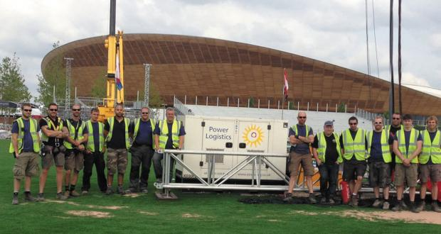 Staff from Power Logistics at Draycot Cerne at the Velodrome on the Olympic park