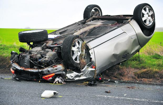 The wreckage of the car after the crash on on the A4361 near Winterbourne Bassett