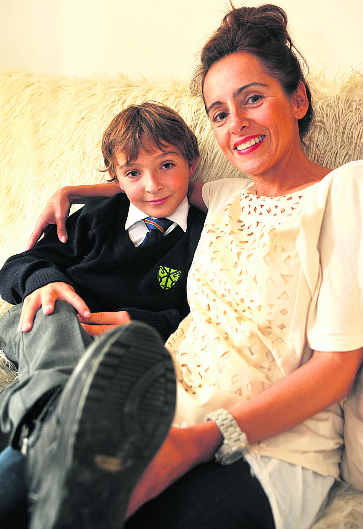 Luca Railton and his mother, Theresa. They are off to the US for his vital leg surgery