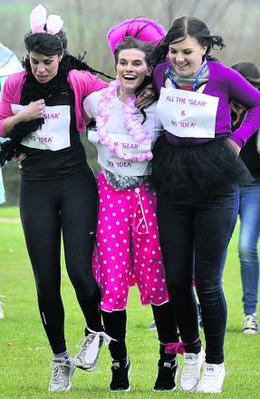 Melksham Oak School staff in the Sport Relief four-legged race