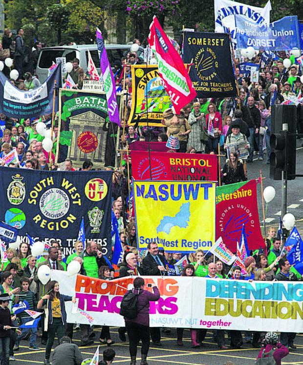 The Wiltshire Gazette and Herald: NUT members marching with NASUWT members in Bristol when they went on strike last October