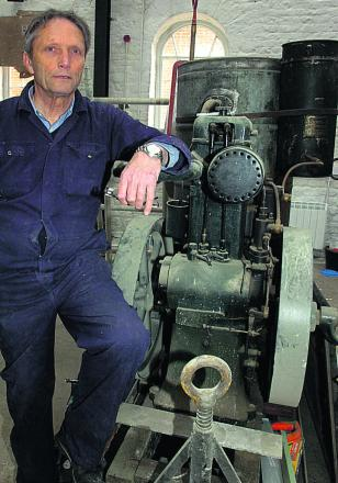 Paul Cowan with a 1920s Whatleys & Co water pump at Pewsey Heritage Centre