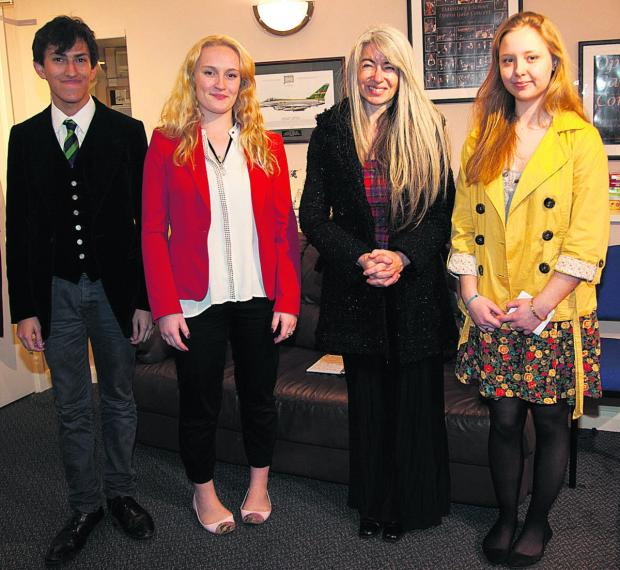 Dame Evelyn Glennie and a group of Dauntsey's School pupils
