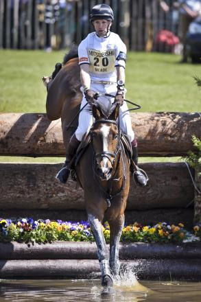 Harry Meade on Wild Lone jumps the lake in the cross-country at last year's Badminton Horse Trials