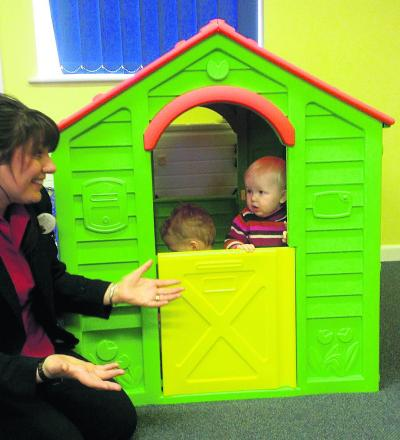 Fun and games as the toddler playhouse is presented to NSPCC Ashdown Family Centre in Tidworth