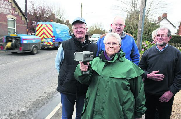 David Duncan, Michael Watson, Judy Rose and Ray Rogers, believe a pedestrian crossing could help to slow the traffic on Bath Road, Devizes