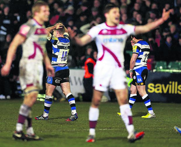 Bath's George Ford holds his head after missing a late drop goal in his side's defeat by Sale
