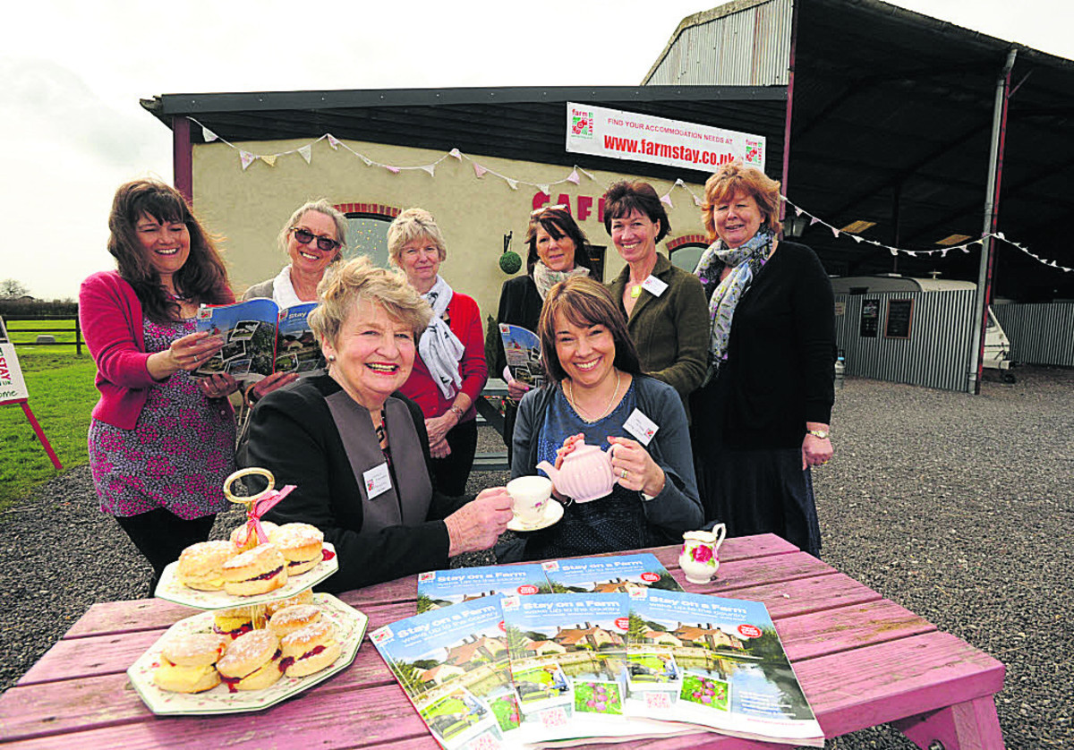Founder member Cynthia Fletcher, left,and Hayley Painter of Merkins Farm, along with members of Wiltshire Farm Stay, enjoy a celebration high tea