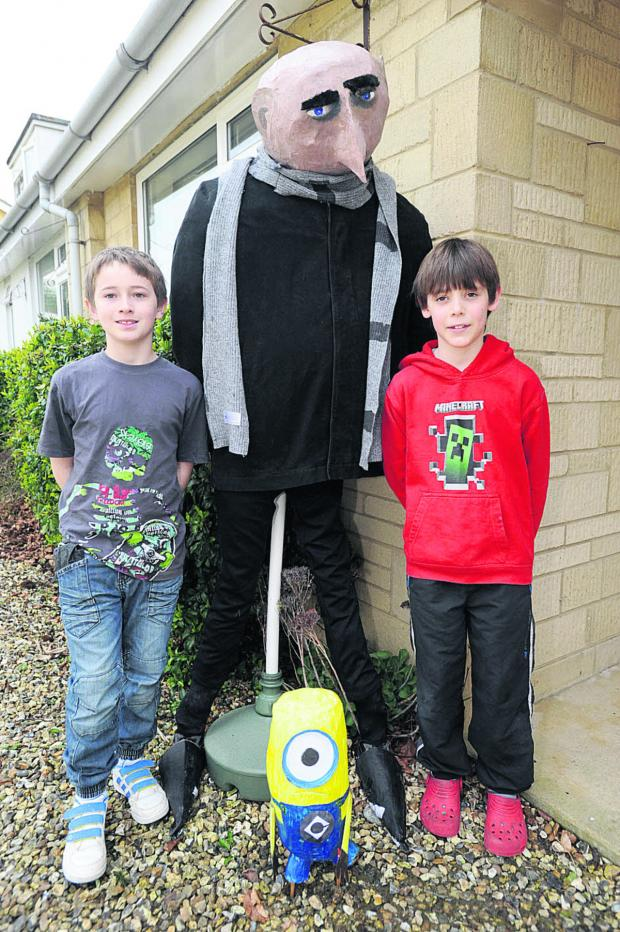 The Wiltshire Gazette and Herald: Despicable Me's Gru and a Minion with Callum Bridgeman, left, and Alex Jones