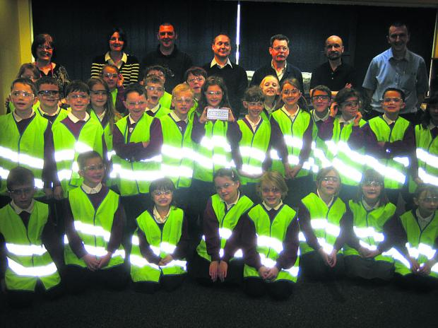 The pupils who paid a visit to Cross Manufacturing to learn about technology