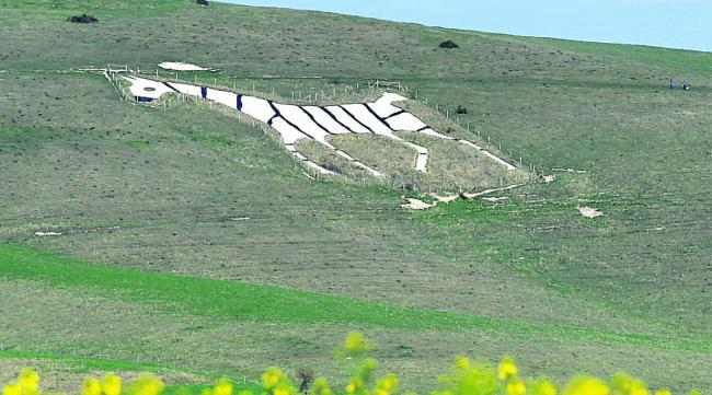 The Alton Barnes White Horse was given stripes  for April Fool's Day             (DV1217) By Diane Vose
