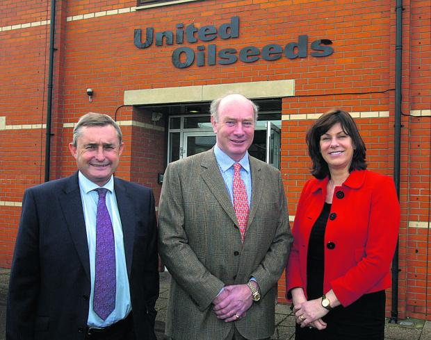 United Oilseeds' new headquarters. From left are managing director Chris Baldwin, chairman John Elliot and Devizes MP Claire Perry                                      (PM1104) By PAUL MORRIS