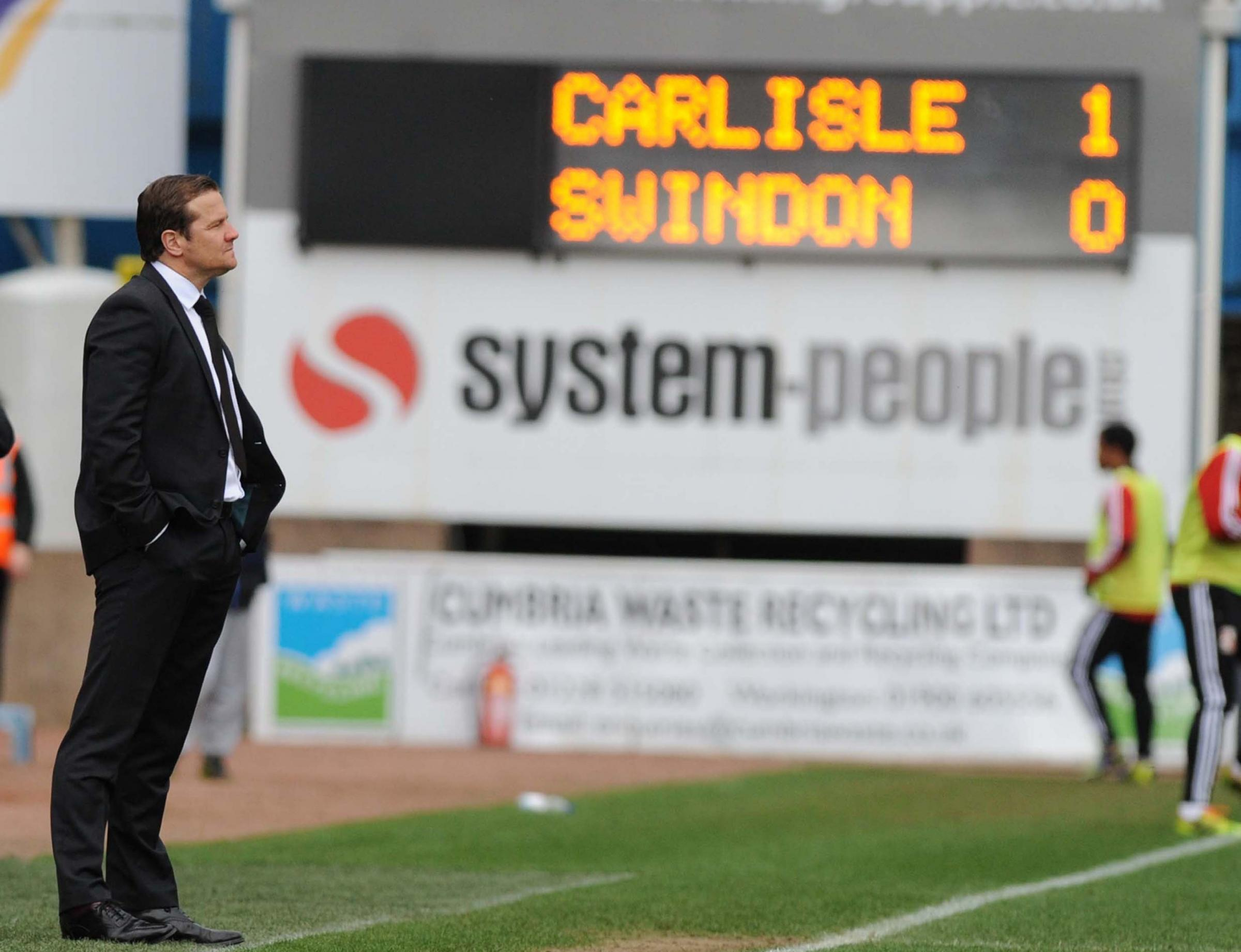 CARLISLE UTD 1 SWINDON TOWN 0: Town faced with a long road home