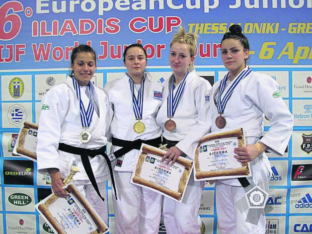 Jemima Duxberr (second from left) with her European Junior Cup gold