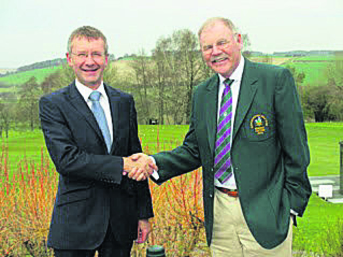 Steve Faulkner(left) dealer principal of Dick Lovett BMW Swindon, with David Ferris (right), captain of Marlborough Golf Club's seniors section after the announcement of their sponsorship deal