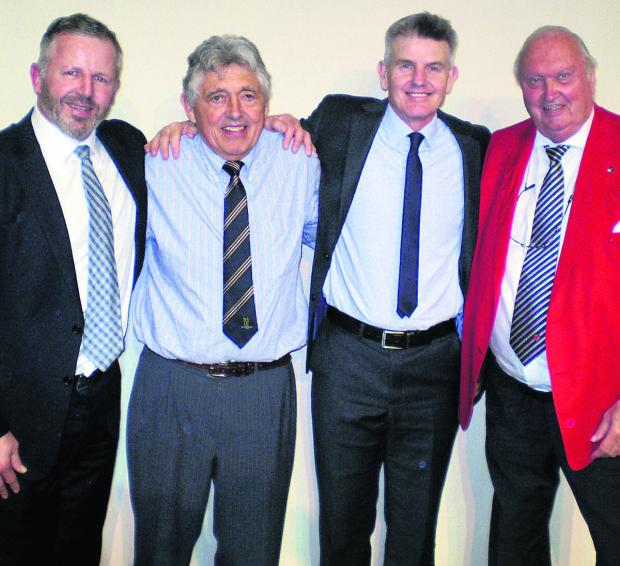 The Wiltshire Gazette and Herald: United through a love of sport are, from left, Sean Fitzpatrick, Ed Davies, Peter Bowler and MC Roger Dakin