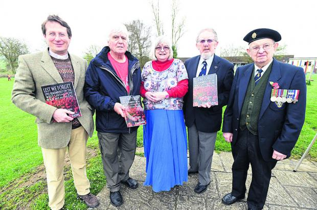 The Wiltshire Gazette and Herald: Historian Lyn Dyson with, from left, the Rev James Campbell, youth club chairman Eric Freeman, Royal British Legion West Lavington branch chairman Michael Challinor and its president, Bob Osbourne