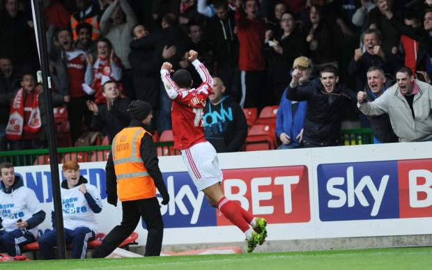Louis Thompson celebrates netting the only goal of the game as Swindon Town beat Brentford 1-0 on Saturday
