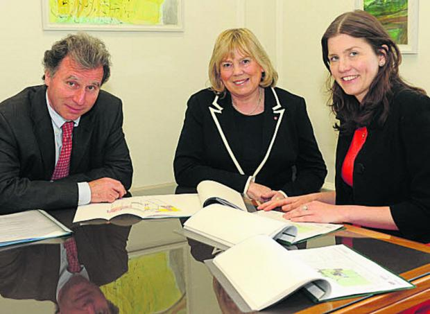 Oliver Letwin, minister for government policy, Wiltshire Council leader Jane Scott and Michelle Donelan, prospective Parliamentary Conservative for Chippenham, take a look at campus plans at County Hall, Trowbridge