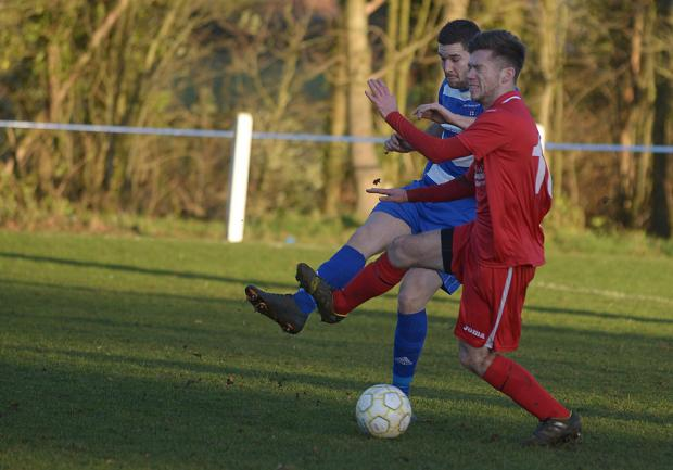 Ryan Stanners (right) scored twice for Wootton Bassett Town at Abingdon Town