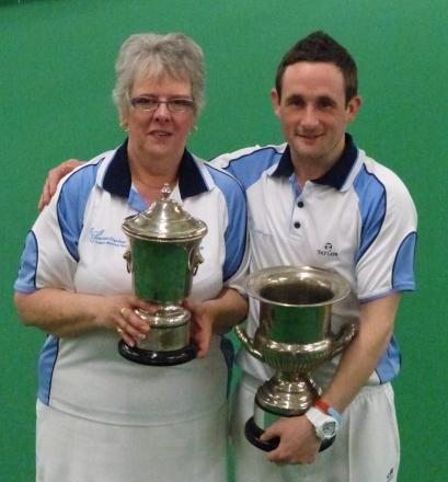 Clarrie Dunbar's club singles champions Jeanette Wheeler and Andrew Colebrooke