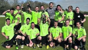 The Wiltshire Gazette and Herald: The Castle celebrate their WG Parr Trophy final victory over Sutton Benger at Corsham Town FC on Sunday