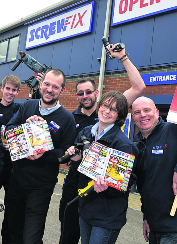 The Wiltshire Gazette and Herald: Staff prepare for the opening of a Screwfix DIY store on Hopton Park industrial estate next week which will create 13 jobs