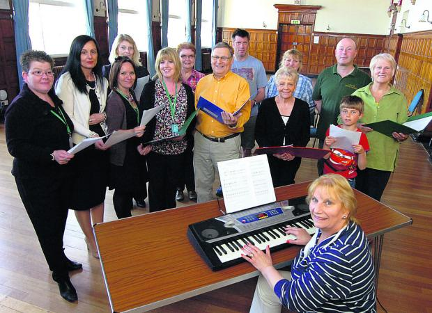 Glenis Ansell with the town council choir