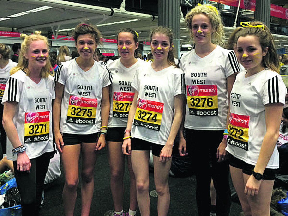 Gemma Shepherd (second left) with her South West U17 women's team at London