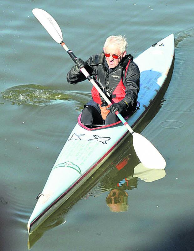 The Wiltshire Gazette and Herald: First away in the Devizes to Westminster canoe race was former special forces soldier Bob Norbury, 71, from Burbage