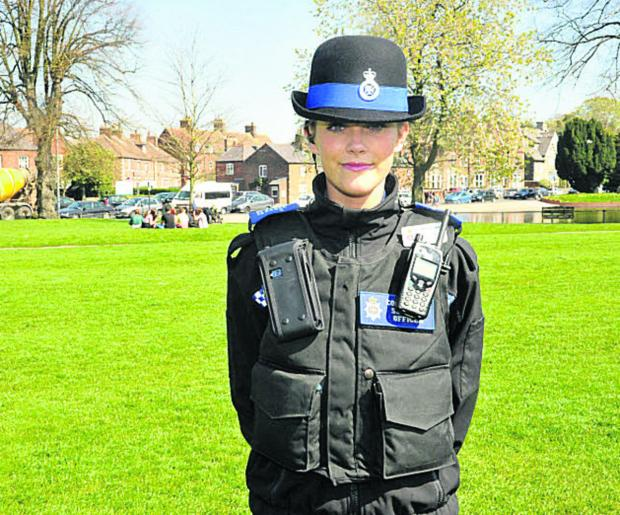 The Wiltshire Gazette and Herald: PCSO Jemma Butcher on duty in Devizes. More police community support officers are needed by Wiltshire Police