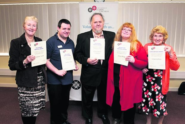 Pauline Scott from Royal Wootton Bassett; James Paul, a volunteer from Brookside in Melksham; Christopher Compton, of Royal Wootton Bassett; Lucy Bray, a volunteer from Hungerford House in Corsham; and Sonia Gittins, who volunteers at Hungerford House