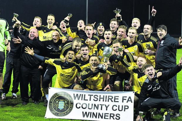 Melksham celebrate their cup victory last night (Picture by D
