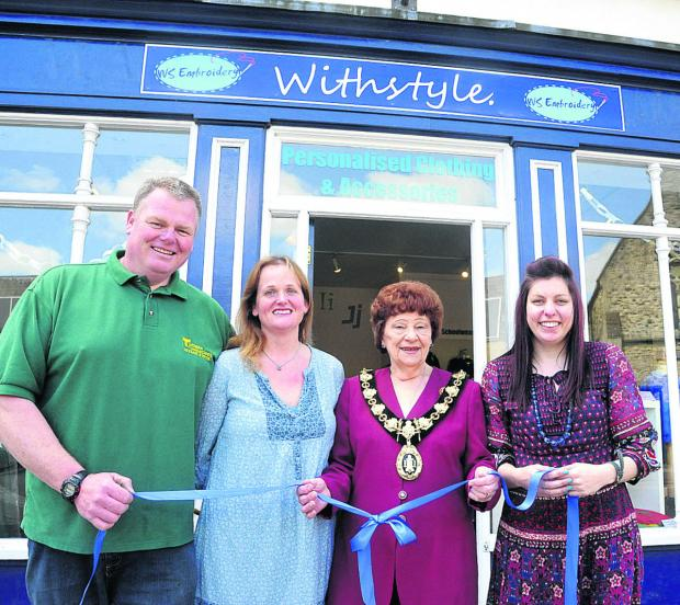 The Wiltshire Gazette and Herald: Proprietor Matt Turner, director Liz Turner, mayor Mercy Baggs and embroiderer Katy Light at the store's opening ceremony