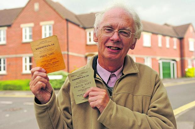 Adrian Pegg with the old Wadworth price lists for sale at the book fair in Devizes  (48670)