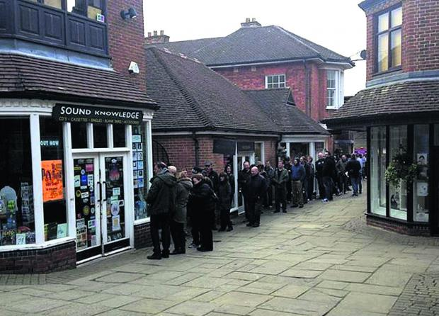 Queues form for the opening of Sound Knowledge in Marlborough on national Record Store Day
