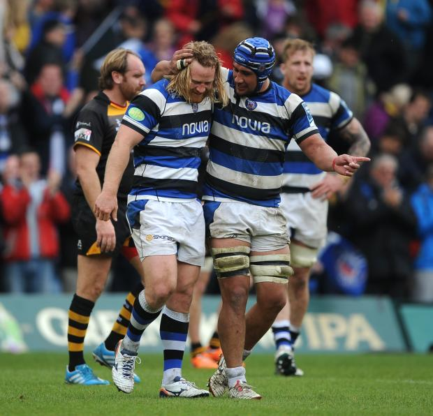 Bath's Ross Batty (left) and Leroy Houston (right) celebrate after the final whistle against Wasps
