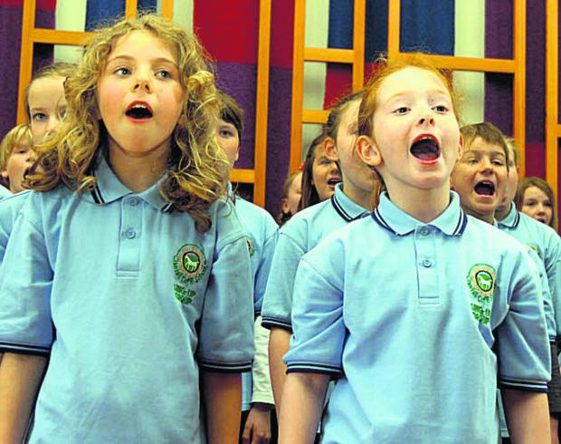 Children from Cherhill School's Sing-up-Group perform at Calne's Spring Sing in Marden House