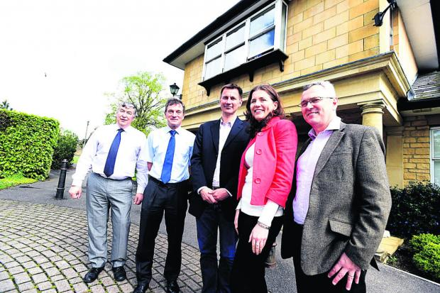 From left, practice manager Jim Milner, Dr Nick Waters, MP Jeremy Hunt, Chippenham Conservative prospective parliamentary candidate Michelle Donelan and Dr Robin Cordell                (DV1277) By Diane Vose