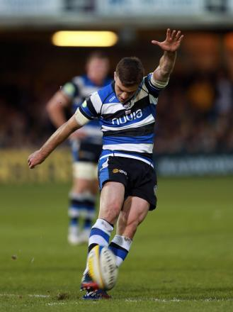 George Ford kicks a penalty against Northampton