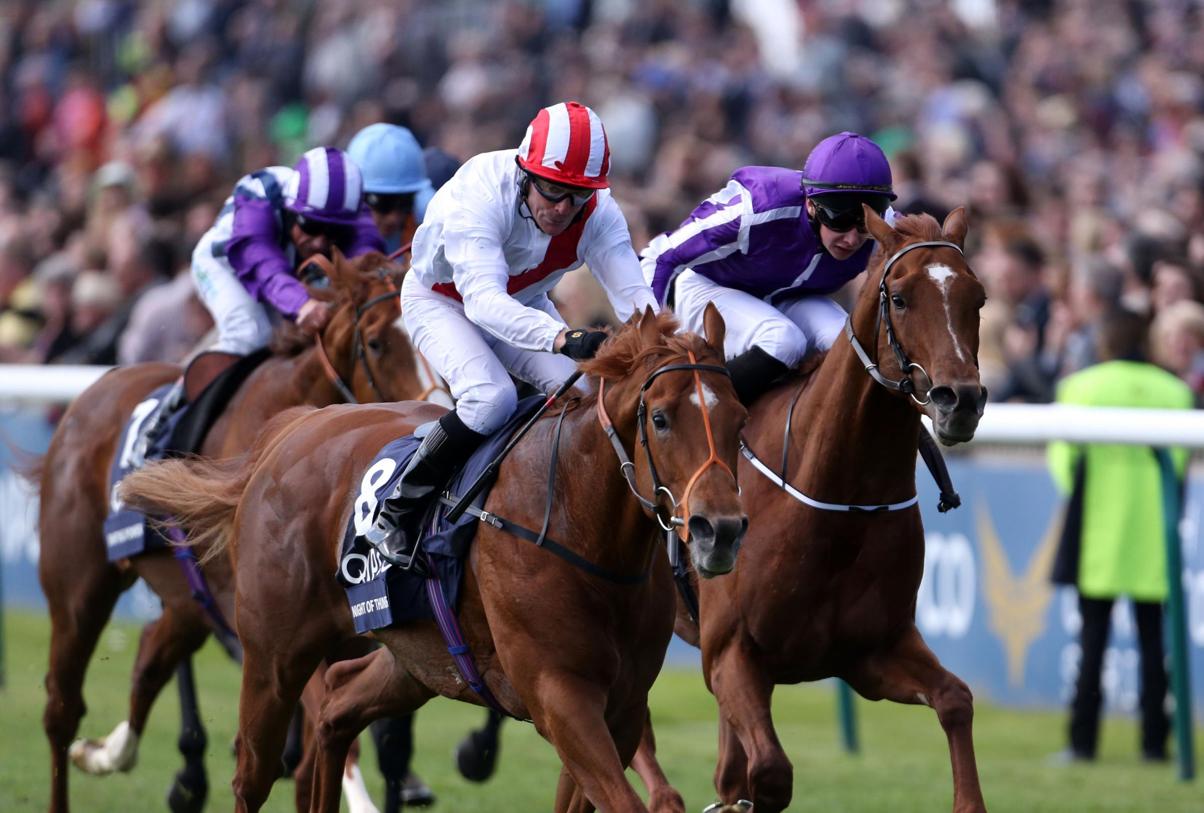 Night of Thunder (left) ridden by Kieren Fallon wins the Qipco 2000 Guineas for Wiltshire trainers Richard Hannon