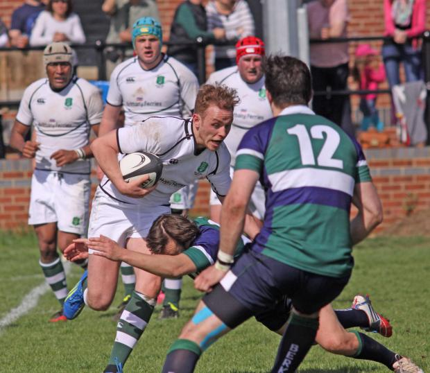 Devizes fly-half Rory Brown on a charge.for Dorset & Wilts